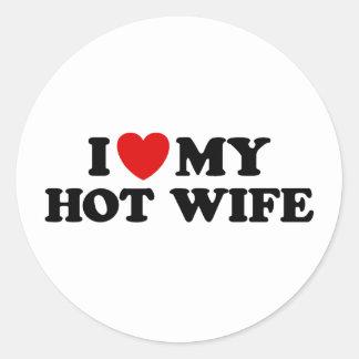 Amo a mi esposa caliente pegatina redonda