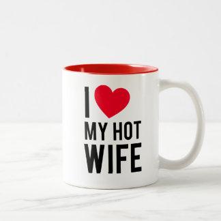 Amo a mi esposa caliente taza de café de dos colores
