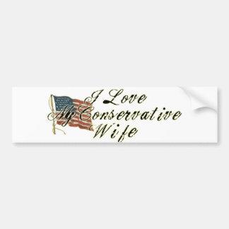 Amo a mi esposa, conservadora pegatina para auto