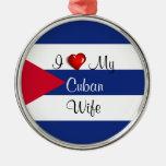 Amo a mi esposa cubana - bandera de Cuba Adorno Redondo Plateado