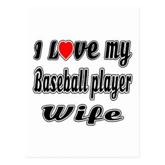 Amo a mi esposa del jugador de béisbol postal