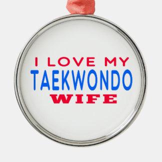 Amo a mi esposa del Taekwondo Adorno Redondo Plateado