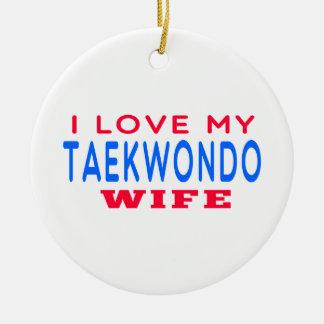 Amo a mi esposa del Taekwondo Adorno Redondo De Cerámica