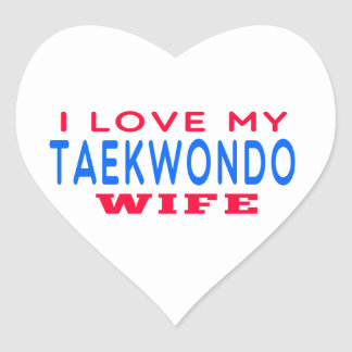 Amo a mi esposa del Taekwondo Pegatina En Forma De Corazón