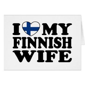 Amo a mi esposa finlandesa tarjeta de felicitación