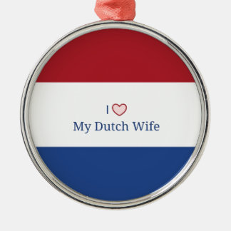 Amo a mi esposa holandesa - bandera de Países Bajo Ornaments Para Arbol De Navidad