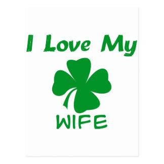 Amo a mi esposa irlandesa tarjeta postal