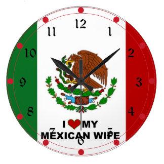 Amo a mi esposa mexicana - bandera de México Reloj De Pared