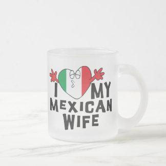Amo a mi esposa mexicana taza de cristal