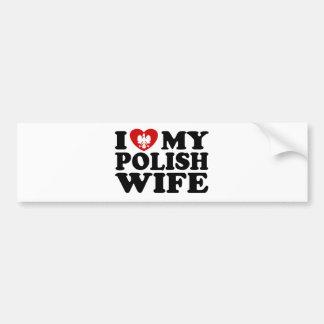 Amo a mi esposa polaca pegatina para auto