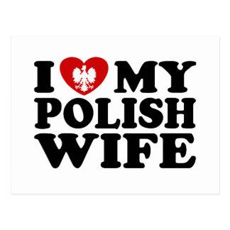 Amo a mi esposa polaca tarjetas postales