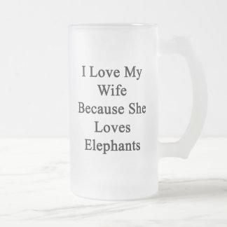 Amo a mi esposa porque ella ama elefantes taza de cristal