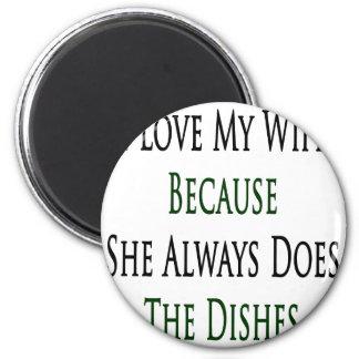 Amo a mi esposa porque ella hace siempre los plato iman de nevera