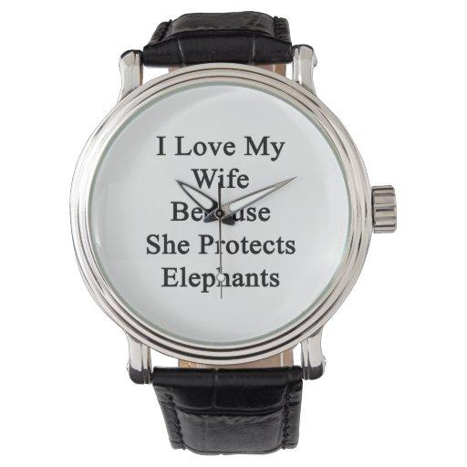 Amo a mi esposa porque ella protege elefantes relojes de mano