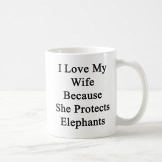 Amo a mi esposa porque ella protege elefantes taza