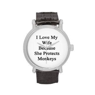 Amo a mi esposa porque ella protege monos relojes