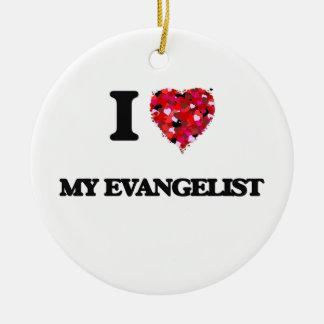 Amo a mi evangelista adorno redondo de cerámica