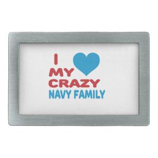 Amo a mi familia loca de la marina de guerra hebillas de cinturón rectangulares