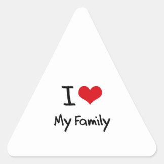 Amo a mi familia pegatinas triangulo