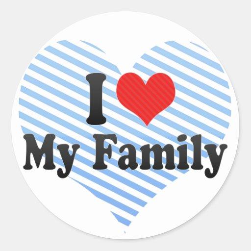 Amo a mi familia pegatina redonda