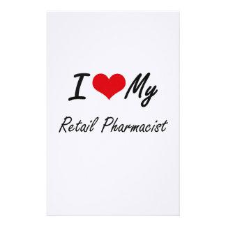 Amo a mi farmacéutico al por menor papelería personalizada