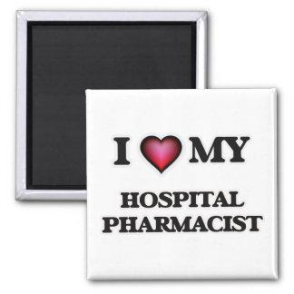 Amo a mi farmacéutico del hospital imán cuadrado