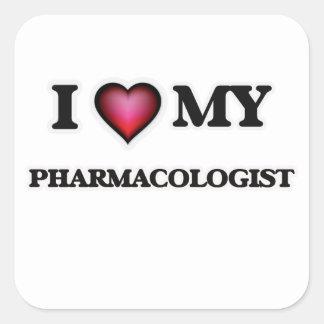 Amo a mi farmacólogo pegatina cuadrada