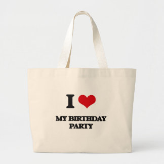 Amo a mi fiesta de cumpleaños bolsa tela grande
