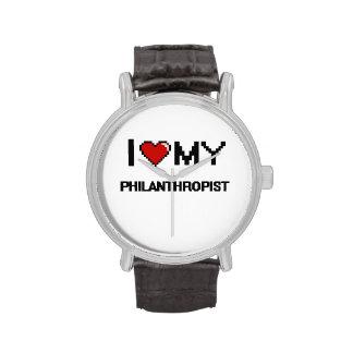 Amo a mi filántropo reloj de mano