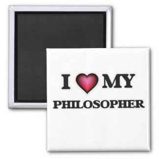 Amo a mi filósofo imán cuadrado