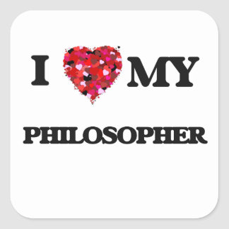 Amo a mi filósofo pegatina cuadrada