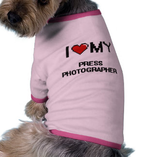 Amo a mi fotógrafo de prensa camiseta con mangas para perro
