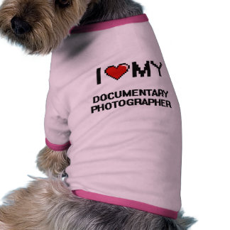 Amo a mi fotógrafo documental camiseta con mangas para perro
