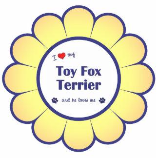 Amo a mi fox terrier del juguete (el perro masculi adorno fotoescultura