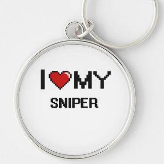 Amo a mi francotirador llavero redondo plateado