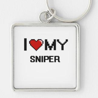 Amo a mi francotirador llavero cuadrado plateado