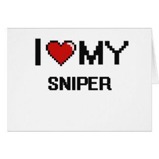 Amo a mi francotirador tarjeta pequeña