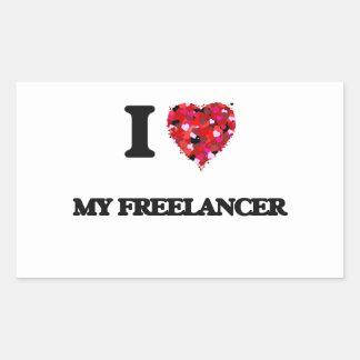 Amo a mi Freelancer Pegatina Rectangular