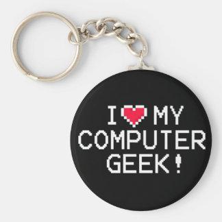 Amo a mi friki del ordenador llavero redondo tipo pin