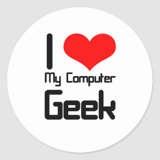 Amo a mi friki del ordenador pegatina