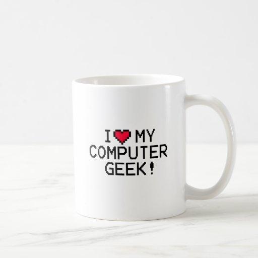 Amo a mi friki del ordenador taza clásica
