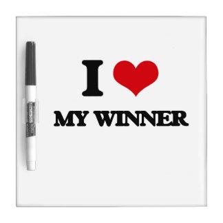 Amo a mi ganador pizarra