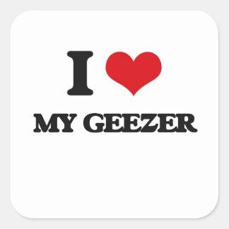 Amo a mi Geezer Calcomania Cuadradas