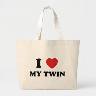 Amo a mi gemelo bolsa tela grande