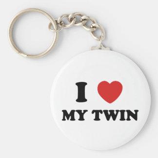 Amo a mi gemelo llavero redondo tipo pin