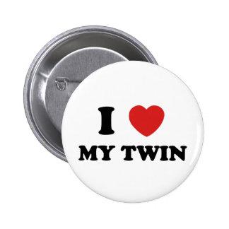 Amo a mi gemelo pin redondo de 2 pulgadas