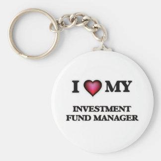 Amo a mi gestor de fondos de inversión de la llavero redondo tipo pin