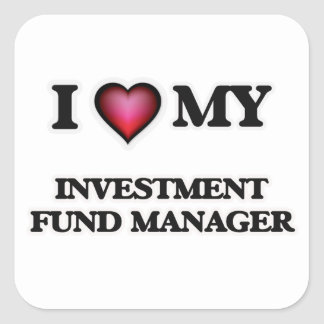 Amo a mi gestor de fondos de inversión de la pegatina cuadrada