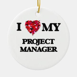 Amo a mi gestor de proyecto adorno navideño redondo de cerámica
