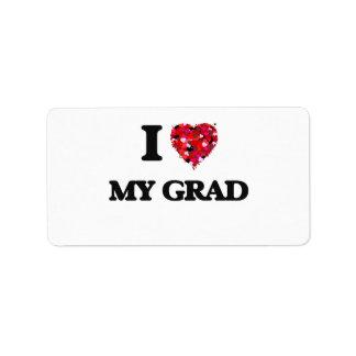 Amo a mi graduado etiqueta de dirección